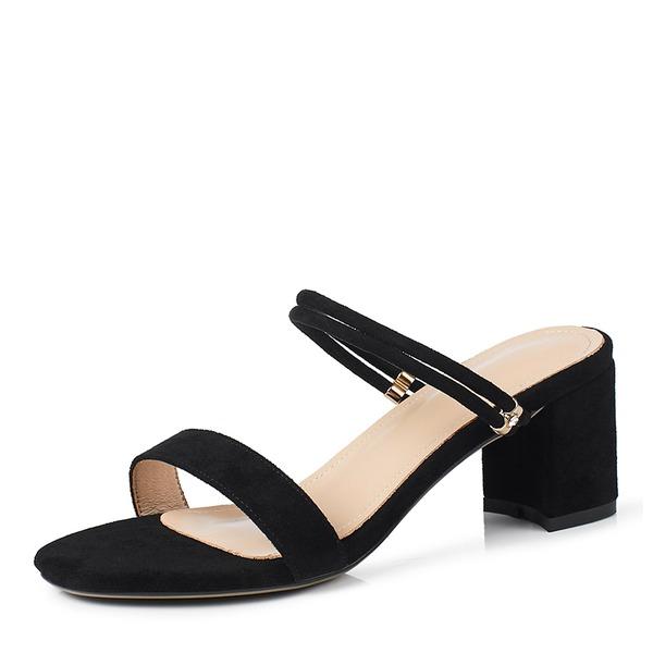Camurça Salto robusto Sandálias Bombas com Fivela sapatos