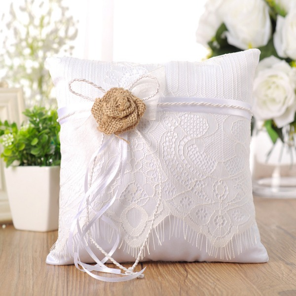 Beautiful Ring Pillow With Flowers/Lace