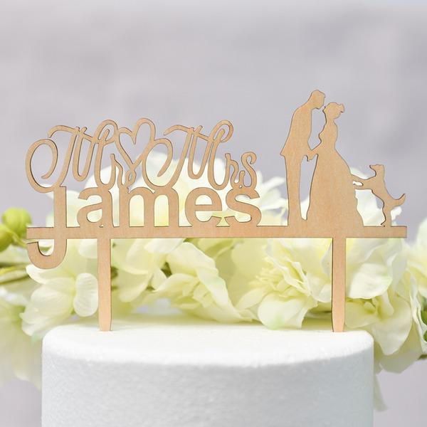 personnalisé Couple classique/Mr & Mrs Bois Décoration pour gâteaux (Vendu dans une seule pièce)