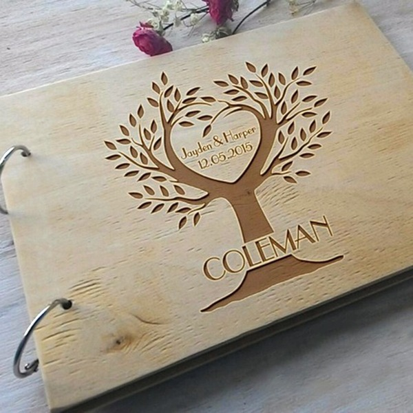 Spersonalizowane projektowania Drewno Księga Gości