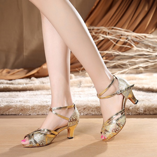 Femmes Cuir verni Talons Sandales Latin avec Lanière de cheville Chaussures de danse