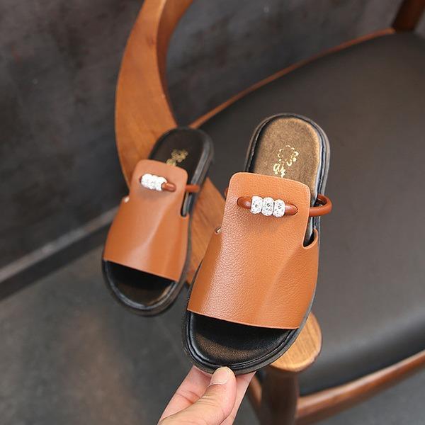 Fille de À bout ouvert similicuir Chaussures plates Chaussons