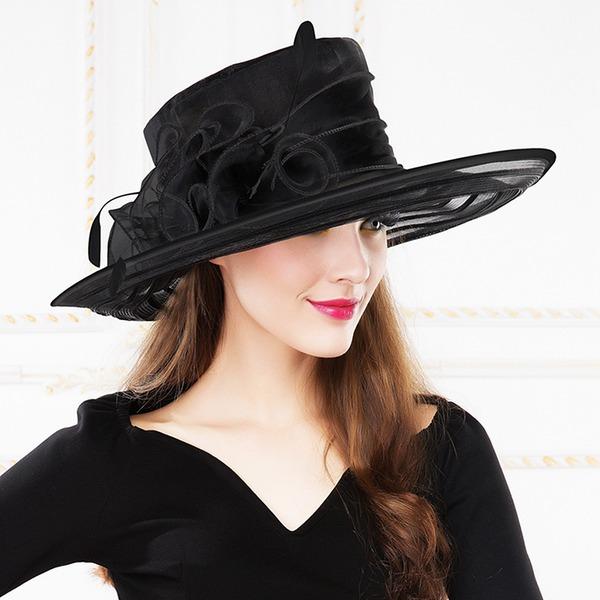 Dames Mode/Glamour/Exquis/Exceptionnel/Accrocheur/Romantique/Style Vintage Organza avec Feather Cap Peaked