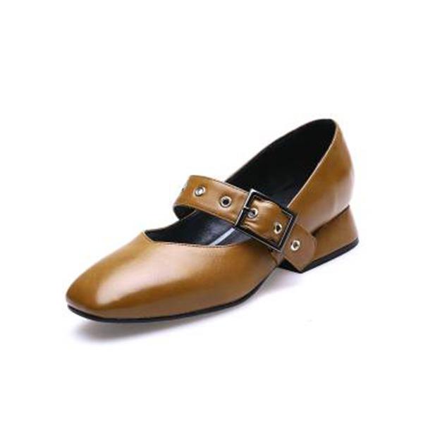 Frauen PU Stämmiger Absatz mit Schnalle Reißverschluss Schuhe