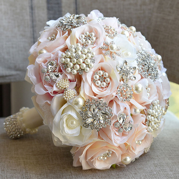 Refined Round Artificial Flower Bridal Bouquets (Sold in a single piece) -
