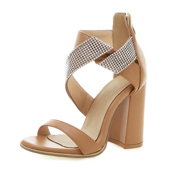 Mulheres Couro Salto robusto Sandálias Bombas Peep toe com Strass sapatos