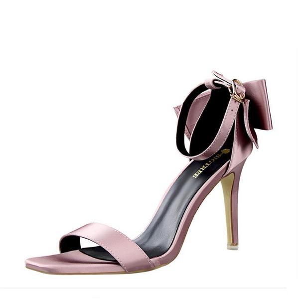 Vrouwen zijde als satijn Stiletto Heel Pumps Peep Toe met strik schoenen