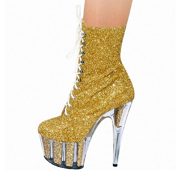 Kvinder Mousserende Glitter Stiletto Hæl Pumps Platform Støvler med Lynlås Blondér sko