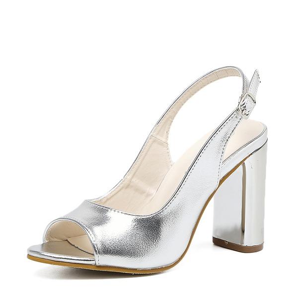 Kvinder PU Stor Hæl sandaler Pumps Kigge Tå Slingbacks med Spænde sko