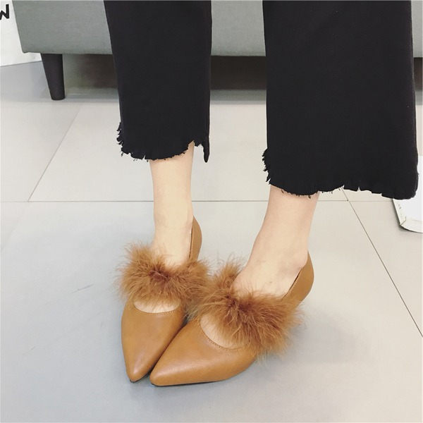 Women's PU Stiletto Heel Pumps Closed Toe With Fur shoes