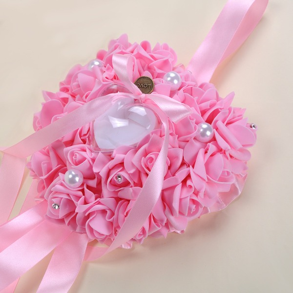 Romantic Rose Ring Pillow in foam With Ribbons/Rhinestones/Faux Pearl