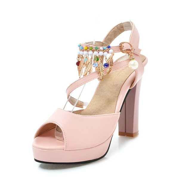 Women's Leatherette Chunky Heel Pumps Platform With Imitation Pearl shoes