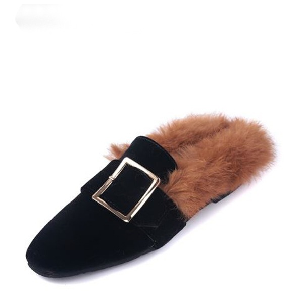 Women's Suede Flat Heel Flats Closed Toe Slingbacks With Fur shoes