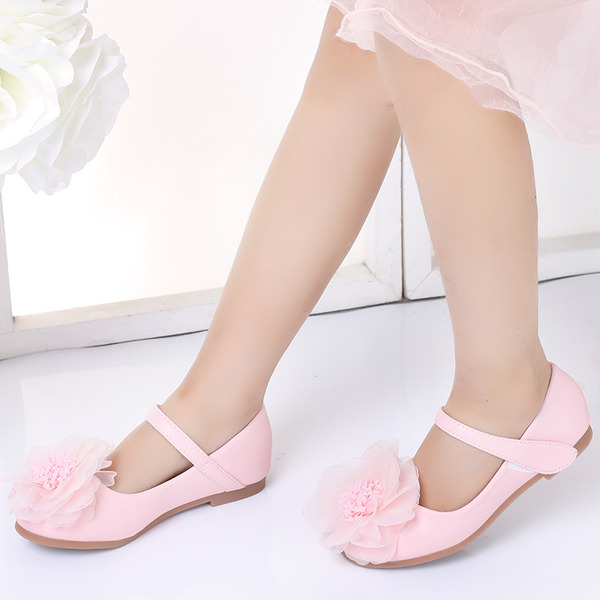 Jentas Round Toe Lukket Tå Microfiber Lær Flate sko med Velcro Blomst