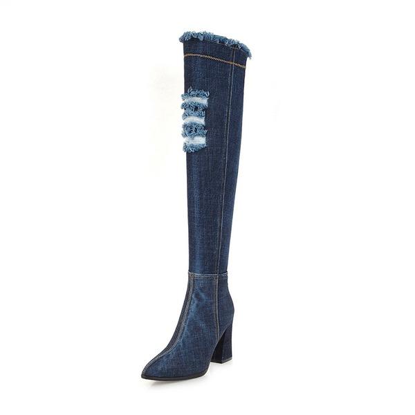 Mulheres Jean Salto robusto Botas Bota em cima do joelho com Zíper sapatos