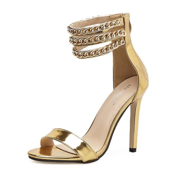 Donna Pelle verniciata Tacco a spillo Sandalo Stiletto Punta aperta con Cerniera Catenina scarpe