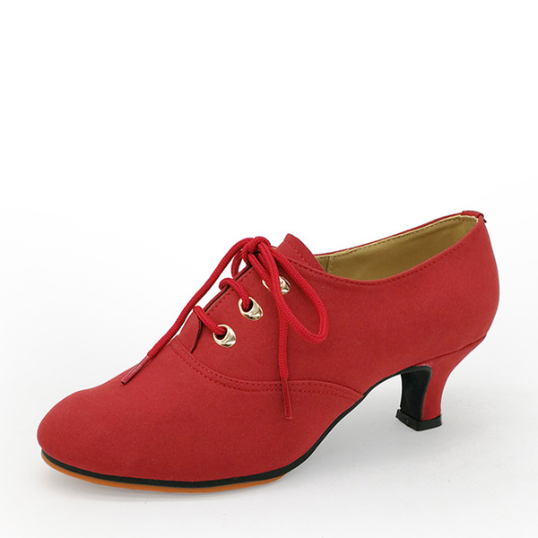 Women's Suede Heels Swing Dance Shoes