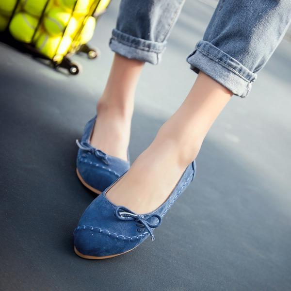 Vrouwen Suede Flat Heel Flats Plateau met strik schoenen