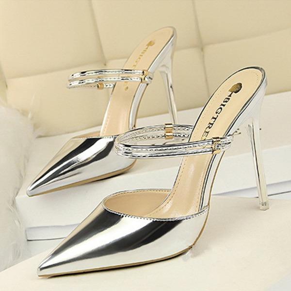 Femmes Cuir verni Talon stiletto Sandales Escarpins Bout fermé chaussures