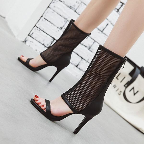 Naisten Keinonahasta Piikkikorko Sandaalit Avokkaat Kengät Peep toe jossa Vetoketju kengät