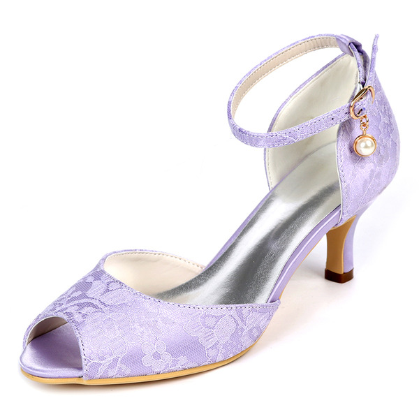 Women's Lace Stiletto Heel Peep Toe Pumps With Buckle Imitation Pearl