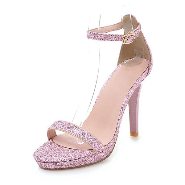 Kadın Köpüklü Glitter İnce Topuk Sandalet Pompalar Platform Peep Toe Ile Toka ayakkabı