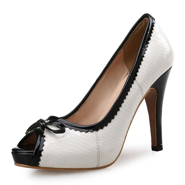 Femmes Similicuir Talon stiletto Escarpins Plateforme À bout ouvert avec La copie Animale chaussures