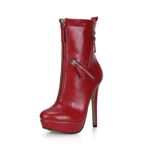 Frauen Kunstleder Stöckel Absatz Absatzschuhe Plateauschuh Geschlossene Zehe Stiefel Stiefelette mit Reißverschluss Schuhe