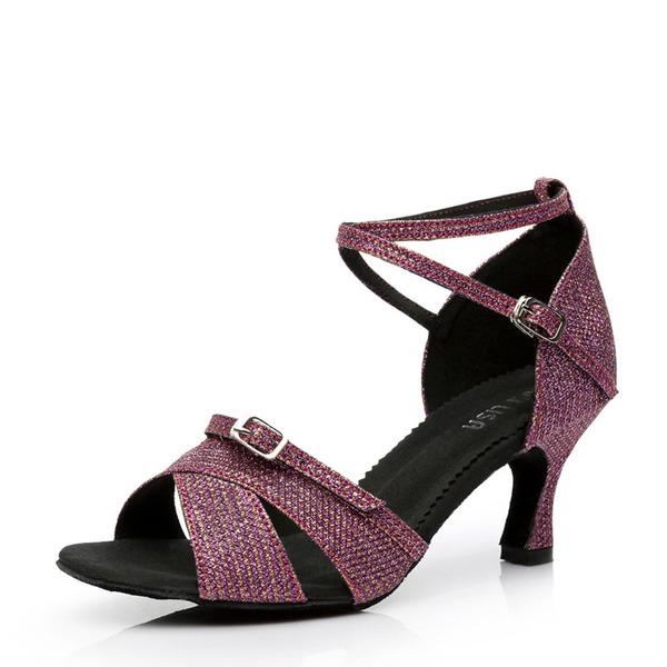 Femmes Satiné Talons Sandales Latin avec Boucle Ouvertes Chaussures de danse