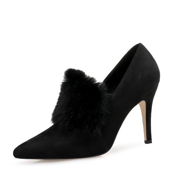 Femmes Suède Talon stiletto Escarpins Bout fermé avec Feather chaussures