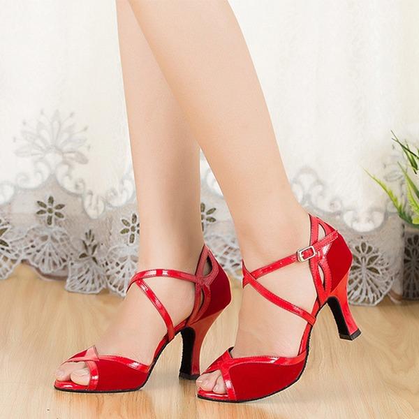 Femmes Suède Sandales Latin avec Lanière de cheville Chaussures de danse