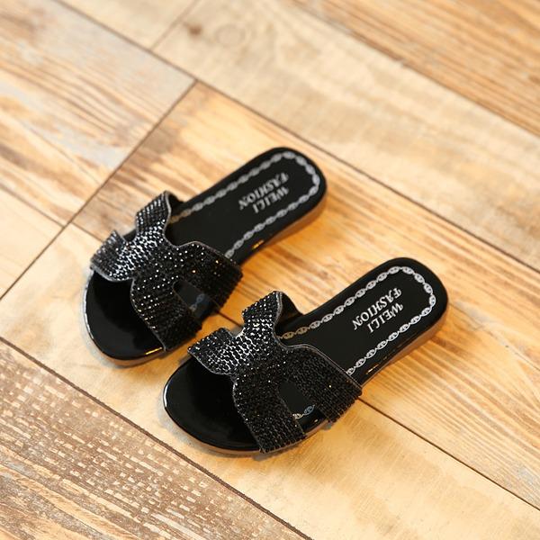 Mädchens Peep Toe Leder funkelnden Glitter Flache Schuhe Pantoffel