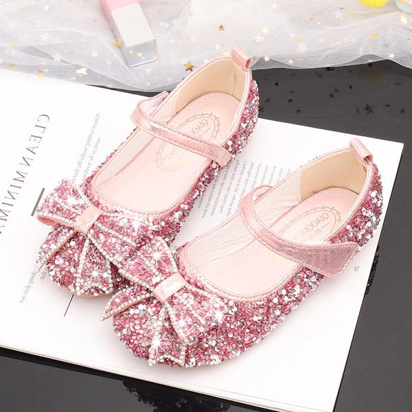 Flicka rund tå sparkling blänker Flower Girl Shoes med Bowknot Kristall