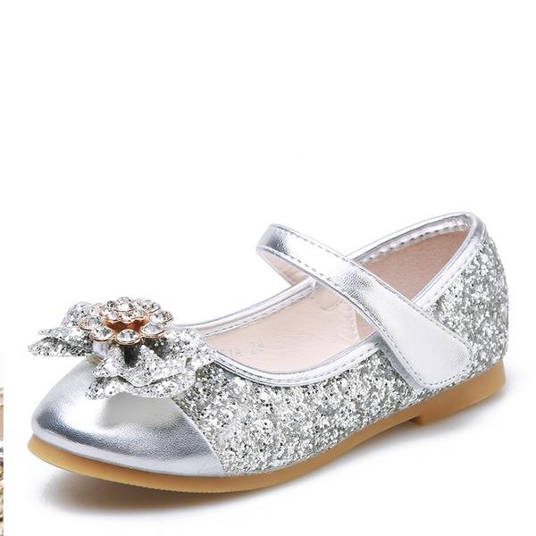 Fille de bout rond Bout fermé Glitter mousseux talon plat Chaussures plates Chaussures de fille de fleur avec Bowknot Velcro