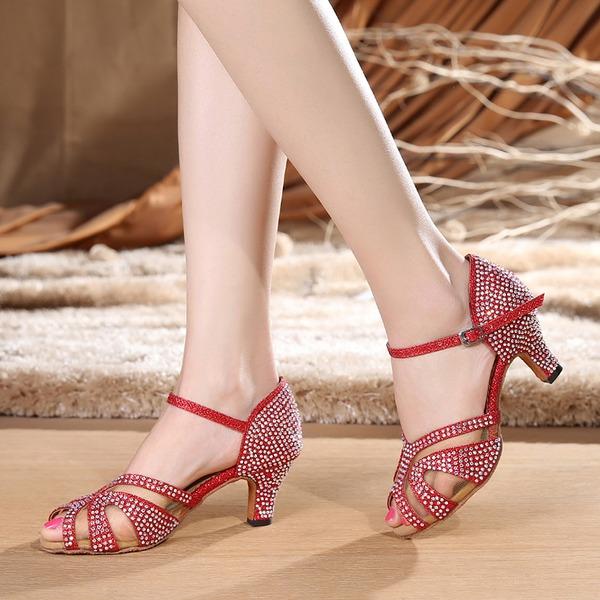 Женщины Мерцающая отделка На каблуках Сандалии Латино с Ремешок на щиколотке Обувь для танцев