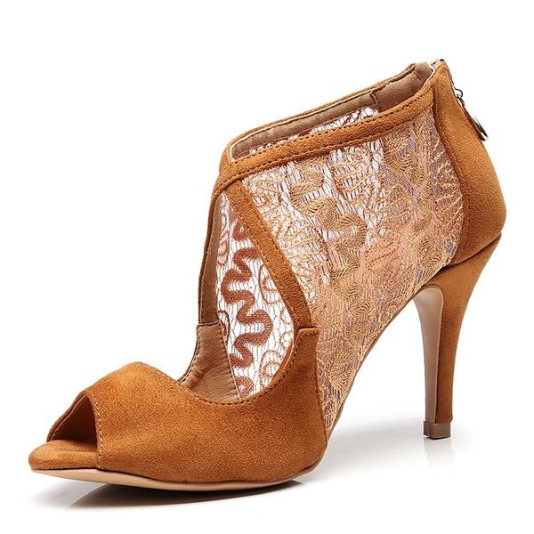 Kadın Süet Örgü Topuk Latin Dans Ayakkabıları