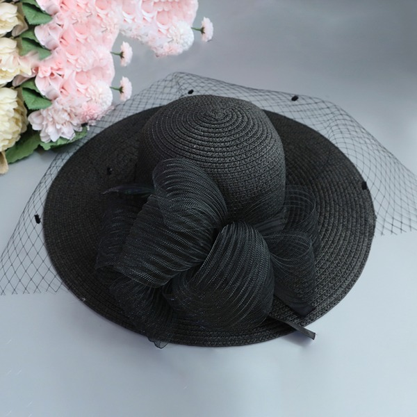 Ladies' Special/Glamourous/Elegant/Simple/Eye-catching/Fancy Raffia Straw With Tulle Straw Hat