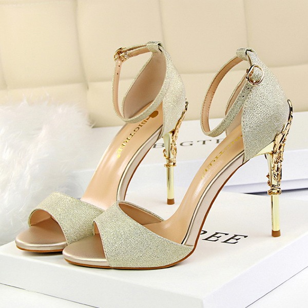 Women's Satin Stiletto Heel Peep Toe Pumps Sandals With Buckle Chain