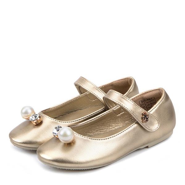 Jentas Lukket Tå Microfiber Lær flat Heel Flate sko Flower Girl Shoes med Imitert Perle Velcro Crystal