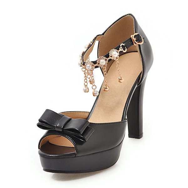 Kvinner Lær Stor Hæl Sandaler Platform Titte Tå med Bowknot Kjede sko