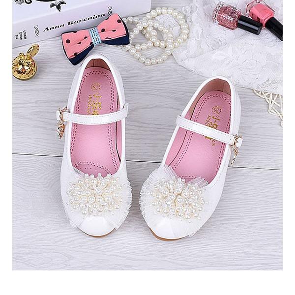 Fille de bout rond Bout fermé Cuir verni talon plat Chaussures plates Chaussures de fille de fleur avec Une fleur