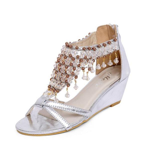 Similicuir Talon compensé Sandales avec Strass chaussures