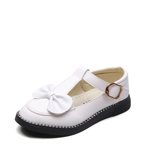 Jentas Lukket Tå Leather flat Heel Flate sko Flower Girl Shoes med Bowknot Velcro