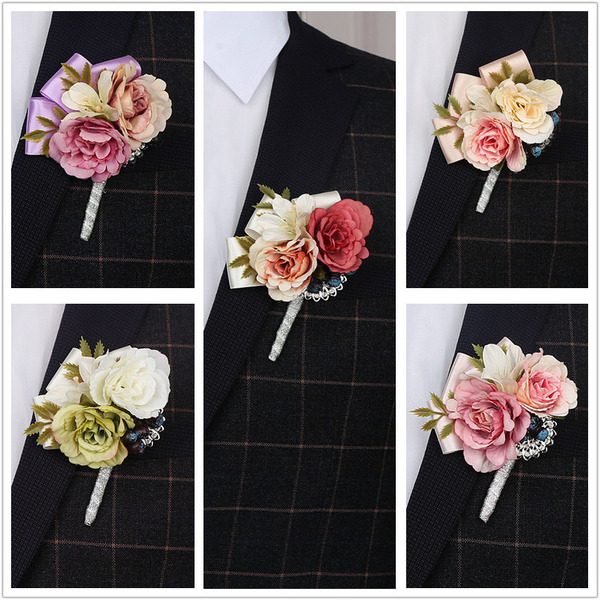 Simple And Elegant Volná forma Tkanina Boutonniere - Boutonniere