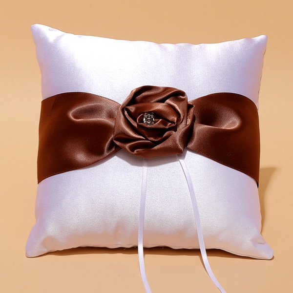 Square Ring Pillow in Satin With Ribbons/Flowers