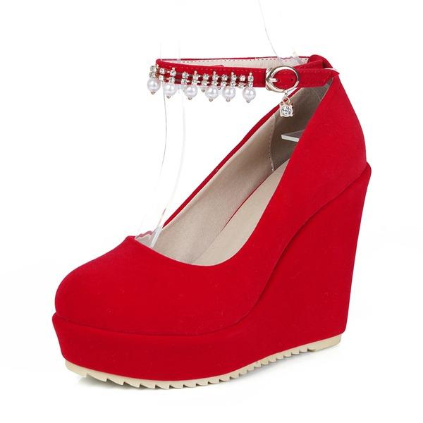 Donna Camoscio Zeppe Piattaforma Zeppe scarpe