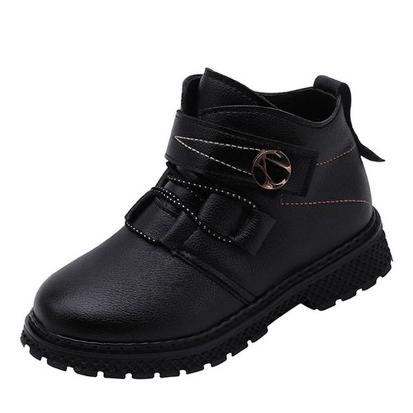 Unisexmodell Round Toe Lukket Tå Ankelstøvler Martin Boots Leather flat Heel Flate sko Støvler Flower Girl Shoes med Blondér Button