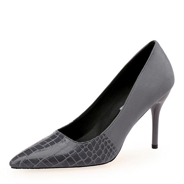 Frauen Veloursleder Stöckel Absatz Absatzschuhe Geschlossene Zehe Schuhe
