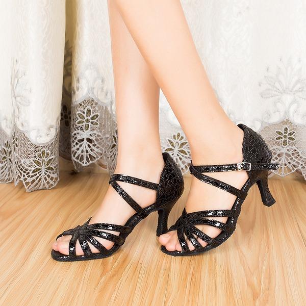 Frauen Echtleder Heels Sandalen Latin mit Knöchelriemen Tanzschuhe