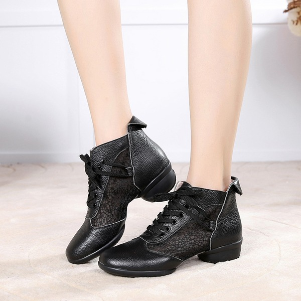 Women's Real Leather Mesh Sneakers Practice With Hollow-out Dance Shoes